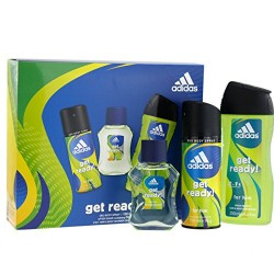 Coffret Homme Adidas Get Ready for him - After Shave, Gel Douche 2 en 1, Déodorant Body Spray
