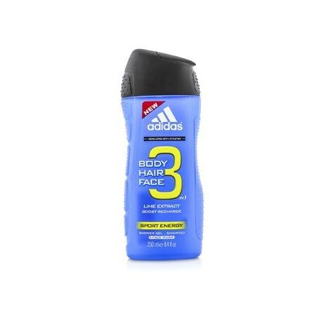Adidas Sport Energy 3 In 1 Shower Gel, Shampoo & Face Wash 250ml